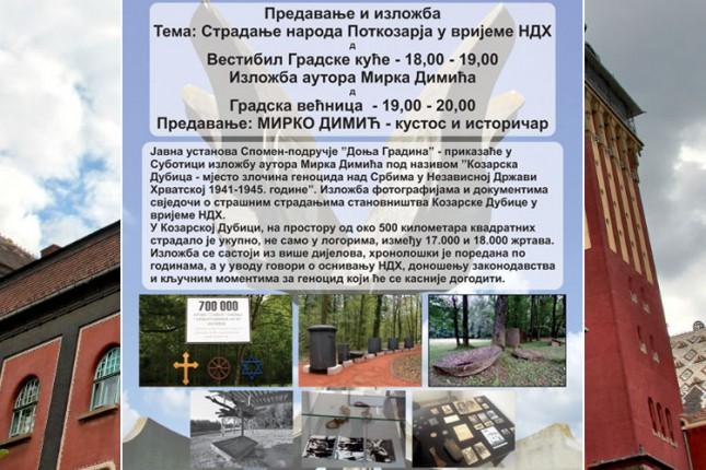 Predavanje i izložba slika na temu stradanja naroda Potkozarja u vreme NDH