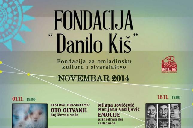 """Program Fondacije """"Danilo Kiš"""" za novembar"""