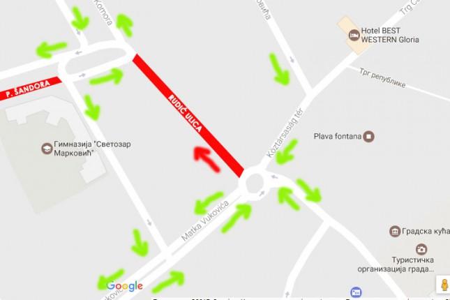 Od utorka do nedelje Rudić ulica zatvorena za saobraćaj