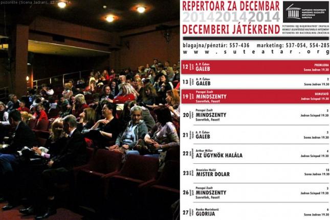 Repertoar Narodnog pozorišta za decembar