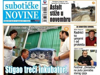"""""""Subotičke novine"""" u novom broju objavljuju"""