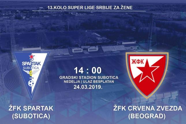 Fudbal (Ž): Spartak u nedelju dočekuje Crvenu zvezdu