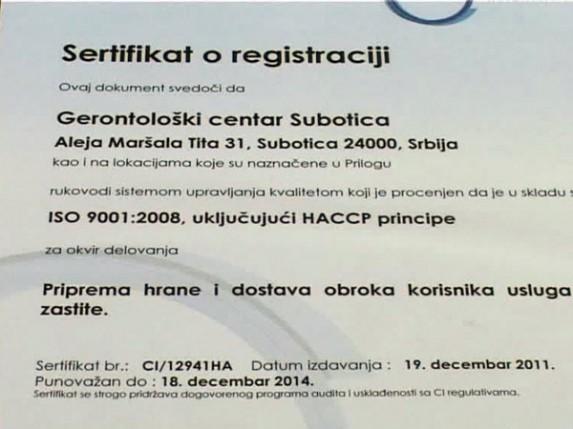 HACCP i ISO 9001 u Gerontološkom centru
