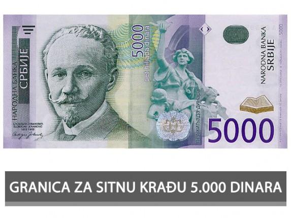 Granica za sitnu krađu 5.000 dinara