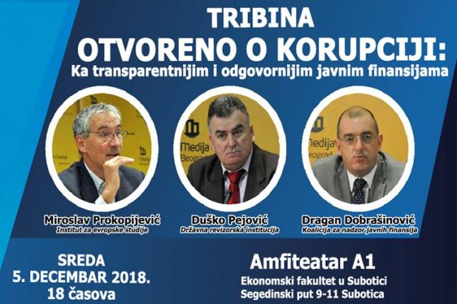 Tribina o korupciji i javnim finansijama sutra na Ekonomskom fakultetu