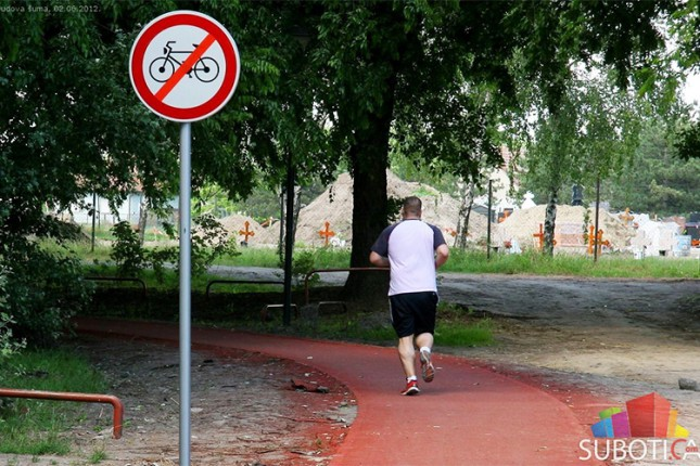 Zabranjeno za bicikle na trim stazi u Dudovoj šumi