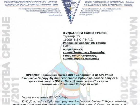"""ŽFK """"Spartak"""" traži intervenciju FSS-a"""