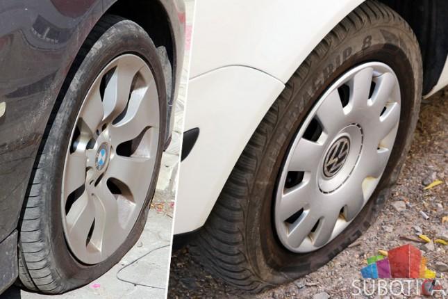 Probušene gume na automobilima na Radijalcu