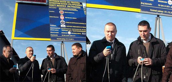 Bazen u Subotici - Oliver Dulić, Bojan Pajtić, Josip Kovač Striko, Slavko Parać
