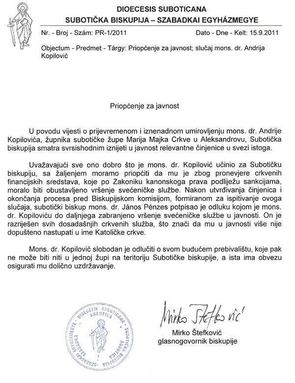 Saopštenje za javnost subotičke biskupije - Andrija Kopilović