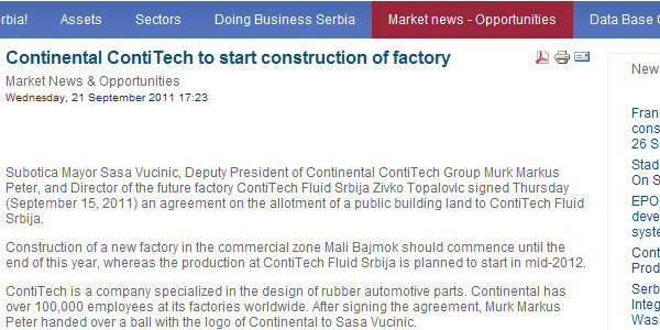 Continental fabrika u Subotici - Contitech