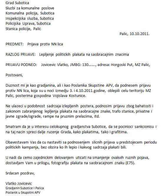 Prijava protiv NN lica zbog lepljenja plakata