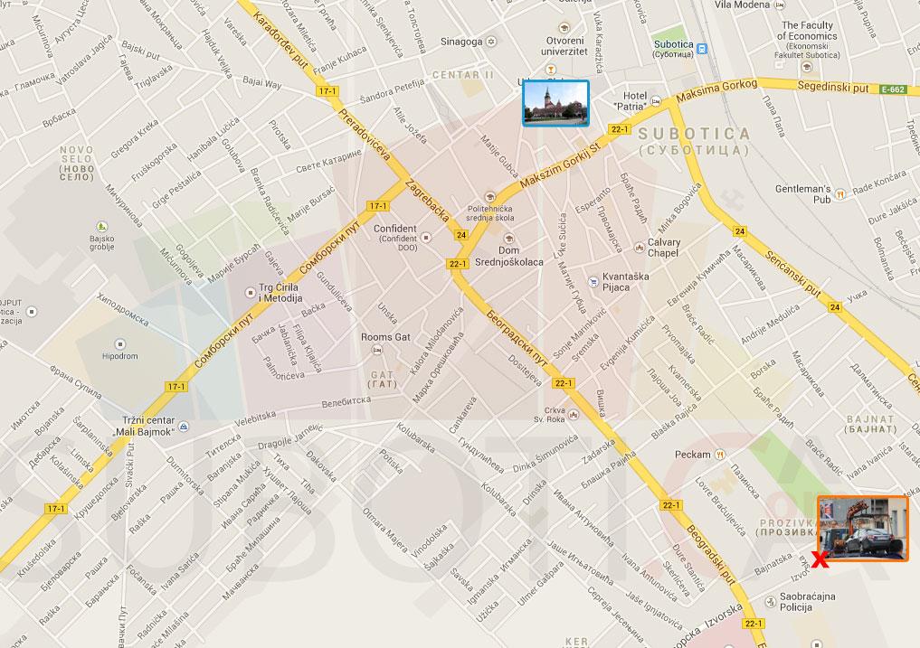 mapa subotice po ulicama Pauk